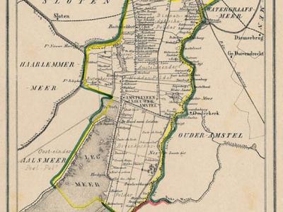 Gemeente Nieuwer-Amstel (in 1964 hernoemd in Amstelveen) anno ca. 1870, kaart J. Kuijper (collectie www.atlasenkaart.nl)