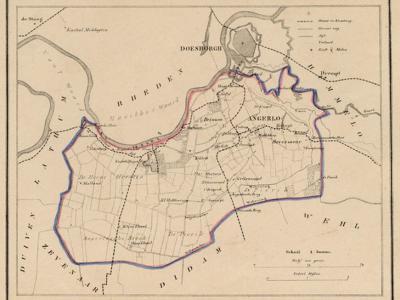 Gemeente Angerlo anno ca. 1870, kaart J. Kuijper, exclusief de begin 19e eeuw opgeheven gemeente Lathum