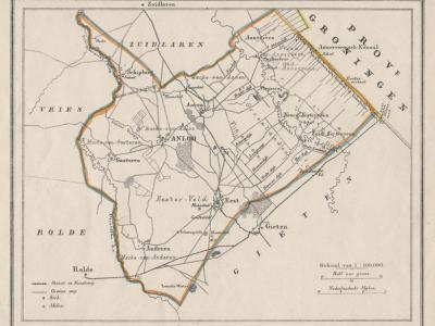 Gemeente Anloo anno ca. 1870, kaart J. Kuijper (collectie www.atlasenkaart.nl)