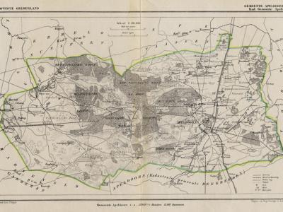 Gemeente Apeldoorn anno ca. 1870, kaart J. Kuijper, exclusief de in 1818 opgeheven gemeente Beekbergen