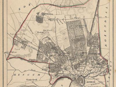 Gemeente Arnhem anno ca. 1870, kaart J. Kuijper