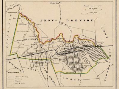 Gemeente Avereest anno ca. 1870, kaart J. Kuijper (collectie www.atlasenkaart.nl)