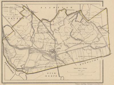 Gemeente Axel anno ca. 1870, kaart J. Kuijper (collectie www.atlasenkaart.nl)