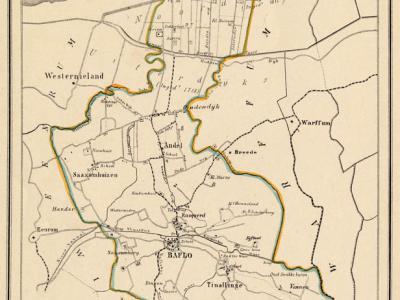 Gemeente Baflo in ca. 1870, kaart J. Kuijper (collectie www.atlasenkaart.nl)