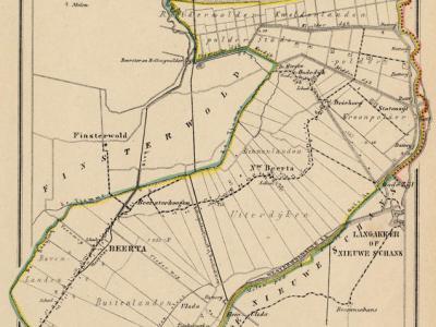 Gemeente Beerta anno ca. 1870, kaart J. Kuijper (collectie www.atlasenkaart.nl)