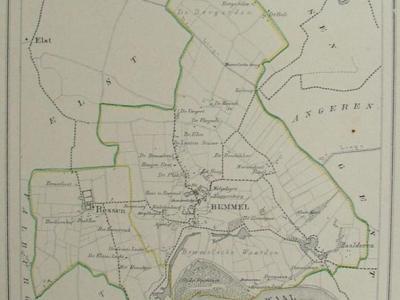 Gemeente Bemmel anno ca. 1870, kaart J. Kuijper, inclusief de begin 19e eeuw opgeheven gemeente Ressen, exclusief de begin 19e eeuw opgeheven gemeenten Angeren en Doornenburg (collectie atlasenkaart.nl)