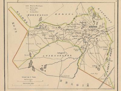 Gemeente Bergeijk anno ca. 1870, kaart J. Kuijper (collectie www.atlasenkaart.nl)