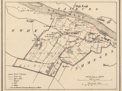 Gemeente Beuningen anno ca. 1870, kaart J. Kuijper. Dankzij de gekleurde grenslijn tussen Beuningen en Weurt kun je nog zien hoe de gemeente Weurt en de oorspronkelijke gemeente Beuningen eruit hebben gezien.
