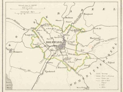 Gemeente Bolsward anno ca. 1870, kaart J. Kuijper (collectie www.atlasenkaart.nl)