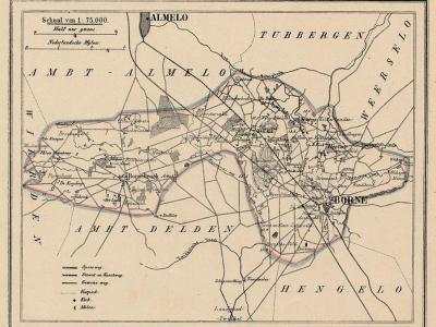 Gemeente Borne anno ca. 1870, kaart J. Kuijper (collectie www.atlasenkaart.nl)