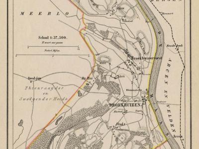 Gemeente Broekhuizen in ca. 1870, kaart J. Kuijper (collectie www.atlasenkaart.nl)