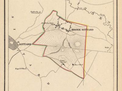 Gemeente Broeksittard anno ca. 1870, kaart J. Kuijper (collectie www.atlasenkaart.nl)