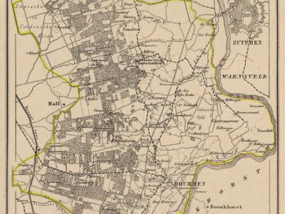 Gemeente Brummen anno ca. 1870, kaart J. Kuijper, exclusief de kennelijk begin 19e eeuw bestaan hebbende gemeente Hall
