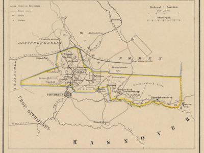 Gemeente Dalen anno ca. 1870, kaart J. Kuijper (collectie www.atlasenkaart.nl)