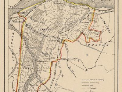 Gemeente De Werken en Sleeuwijk anno ca. 1870, kaart J. Kuijper (collectie www.atlasenkaart.nl)