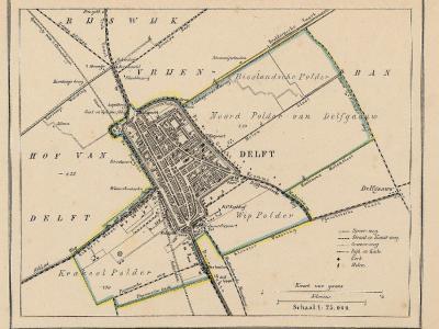 Gemeente Delft anno ca. 1870, kaart J. Kuijper. Duidelijk te zien is dat - zoals bij veel steden - de gemeente in die tijd nog niet veel meer omvatte dan wat nu het centrum noemen. Delft kon pas echt groeien na annexaties van omliggende gemeenten in 1921.