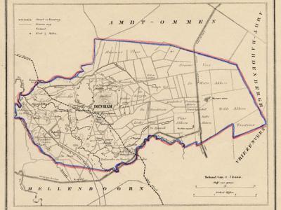 Gemeente Den Ham anno ca. 1870, kaart J. Kuijper (collectie www.atlasenkaart.nl)