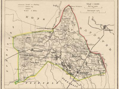 Gemeente Denekamp anno ca. 1870, kaart J. Kuijper (collectie www.atlasenkaart.nl)