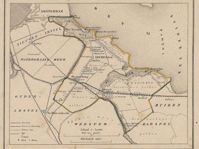 Gemeente Diemen anno ca. 1870, kaart J. Kuijper (collectie www.atlasenkaart.nl)