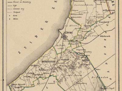 Gemeente Doornspijk anno ca. 1870, kaart J. Kuijper. De gemeente Doornspijk omsloot de gemeente Elburg en was zeer uitgestrekt; ze liep van de gemeente Ermelo (thans Nunspeet) in het Z tot de gemeente Kamperveen (thans Kampen) in het N.