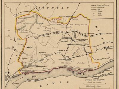 Gemeente Echteld anno ca. 1870, kaart J. Kuijper, exclusief de in 1818 opgeheven gemeente Ochten