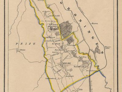 Gemeente Eelde anno ca. 1870, kaart J. Kuijper (collectie www.atlasenkaart.nl)
