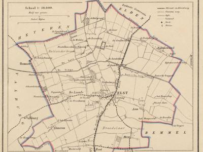 Gemeente Elst anno ca. 1870, kaart J. Kuijper, exclusief de in 1818 opgeheven gemeenten Elden en Lent