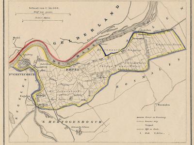 Gemeente Empel en Meerwijk anno ca. 1870, kaart J. Kuijper (collectie www.atlasenkaart.nl)