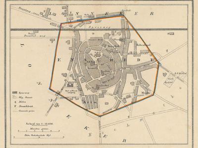 Gemeente Enschede anno ca. 1870, kaart J. Kuijper. Op deze kaart is goed te zien dat, zoals bij veel steden, ook de gemeente en stad Enschede oorspronkelijk niet veel meer was dan wat we nu het centrum noemen. (collectie www.atlasenkaart.nl)