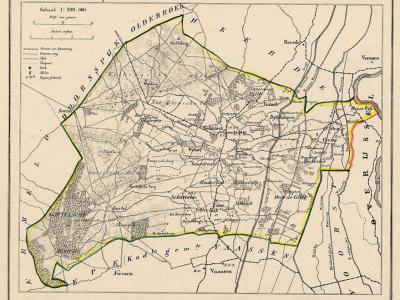 Gemeente Epe anno ca. 1870, kaart J. Kuijper, exclusief de in 1818 opgeheven gemeente Vaassen