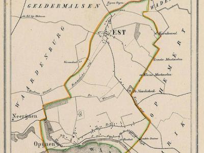 Gemeente Est en Opijnen anno ca. 1870, kaart J. Kuijper