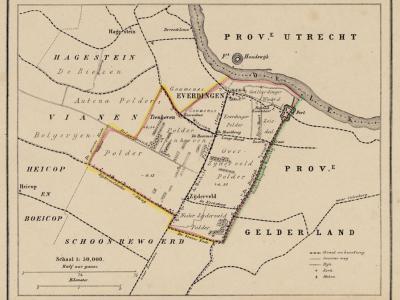 Gemeente Everdingen anno ca. 1870, kaart J. Kuijper (collectie www.atlasenkaart.nl)