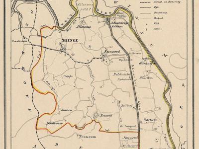 Gemeente Ezinge anno ca. 1870, kaart J. Kuijper