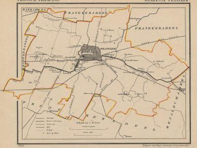 Gemeente Franeker anno ca. 1870, kaart J. Kuijper (collectie www.atlasenkaart.nl)