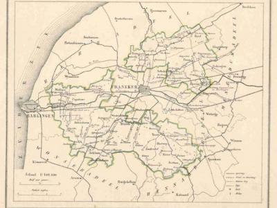 Gemeente Franekeradeel anno ca. 1870, kaart J. Kuijper (collectie www.atlasenkaart.nl)