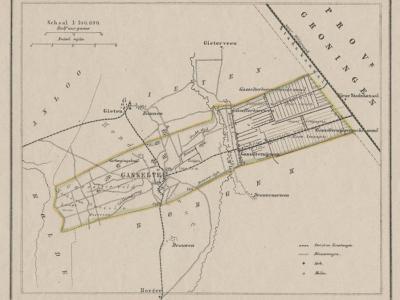Gemeente Gasselte anno ca. 1870, kaart J. Kuijper (collectie www.atlasenkaart.nl)