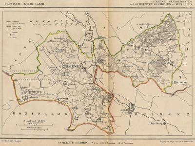 Gemeente Gendringen anno ca. 1870, kaart J. Kuijper, exclusief de in 1818 opgeheven gemeente Etten, en inclusief de voormalige gem. Netterden, die in 1821 is opgegaan in de gem. Bergh, en in 1863 als dorp door grenscorrectie is toegevoegd aan Gendringen