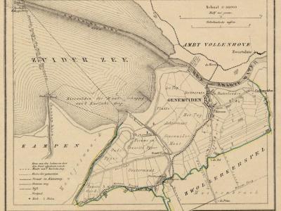 Gemeente Genemuiden anno ca. 1870, kaart J. Kuijper (collectie www.atlasenkaart.nl)