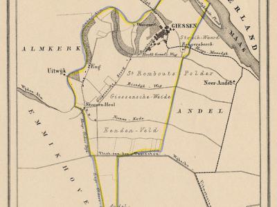 Gemeente Giessen anno ca. 1870, kaart J. Kuijper (collectie www.atlasenkaart.nl)