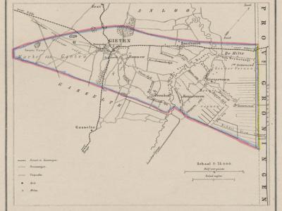 Gemeente Gieten anno ca. 1870, kaart J. Kuijper (collectie www.atlasenkaart.nl)