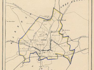 Gemeente Goor anno ca. 1870, kaart J. Kuijper (collectie www.atlasenkaart.nl)