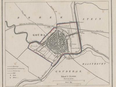 Gemeente Gouda anno ca. 1870, kaart J. Kuijper (collectie www.atlasenkaart.nl)