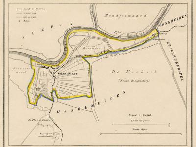 Gemeente Grafhorst anno ca. 1870, kaart J. Kuijper (collectie www.atlasenkaart.nl)