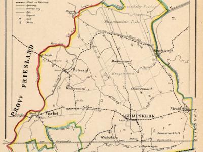 Gemeente Grijpskerk anno ca. 1870, kaart J. Kuijper (collectie www.atlasenkaart.nl)