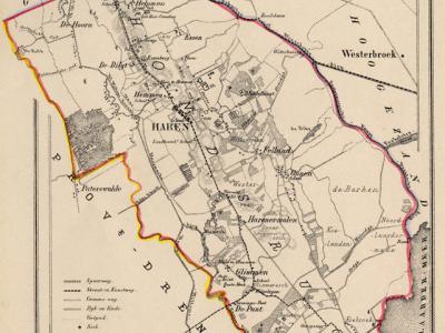 Gemeente Haren anno ca. 1870, kaart J. Kuijper (collectie www.atlasenkaart.nl)