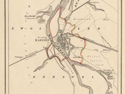 Gemeente Hasselt anno ca. 1870, kaart J. Kuijper (collectie www.atlasenkaart.nl)