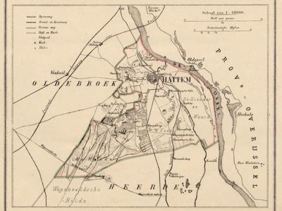 Gemeente Hattem anno ca. 1870, kaart J. Kuijper