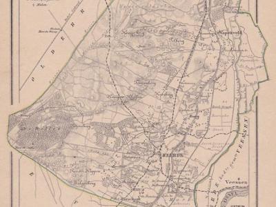 Gemeente Heerde anno ca. 1870, kaart J. Kuijper, exclusief de in 1818 opgeheven gemeente Veessen
