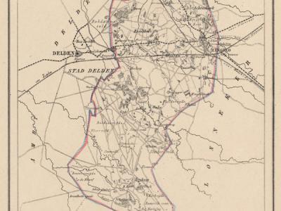 Gemeente Hengelo anno ca. 1870, kaart J. Kuijper (collectie www.atlasenkaart.nl)
