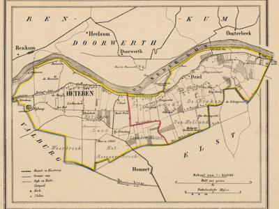 Gemeente Heteren anno ca. 1870, kaart J. Kuijper, exclusief de in 1818 opgeheven gemeente Randwijk. De rode lijn in het midden van de kaart suggereert dat er ook ooit een gemeente Driel zou zijn geweest, maar in onze bronnen kunnen wij dat nergens vinden.